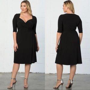Kiyonna Sweetheart Neckline Black Wrap Knit Dress